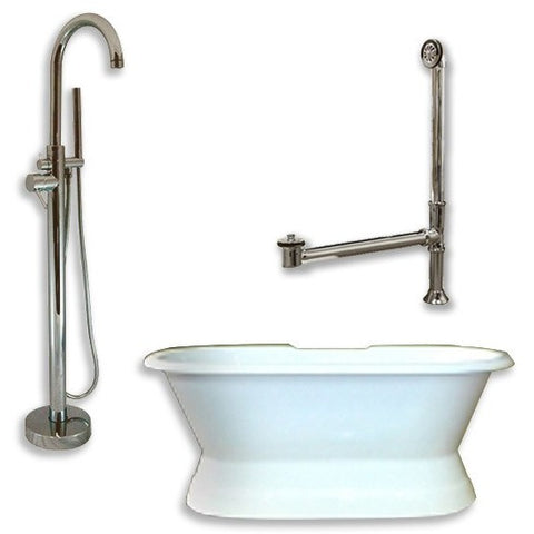 "Cambridge Plumbing Cast Iron Double Ended Slipper Tub Package 71"" X 30 (PEDESTAL) - BathVault"