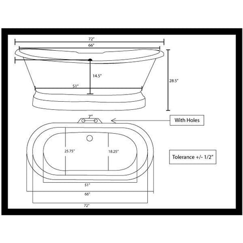 Cambridge Plumbing Cast Iron Double Ended Pedestal Slipper Tub 72