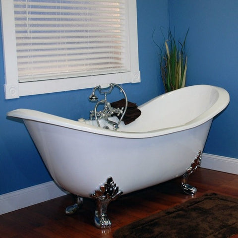 "Cambridge Plumbing Cast Iron Clawfoot Double Ended Slipper Tub 71"" X 30"" - BathVault"