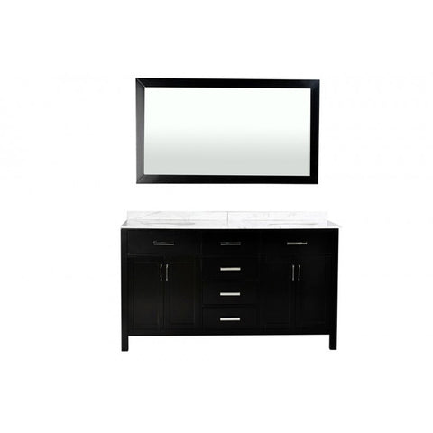 "ARIEL Belmont Decor Hampton 60"" Double Sink Vanity Set DM2D4-60-BLK - BathVault"