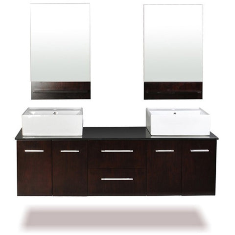 "Belmont Decor Skyline 60"" Double Sink Floating Vanity Set DW1D4-60-ESP - BathVault"