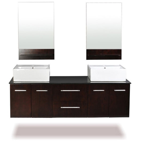 "Belmont Decor Skyline 72"" Double Sink Floating Vanity Set - BathVault"