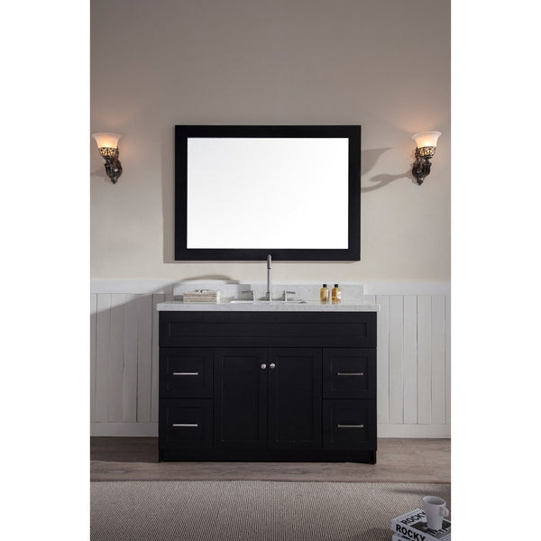 "ARIEL Hamlet 49"" Single Sink Vanity Set White Quartz Countertop - BathVault"