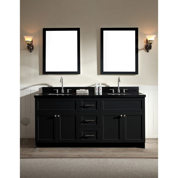 "ARIEL Hamlet 73"" Double Sink Vanity Set Black Granite Countertop - BathVault"