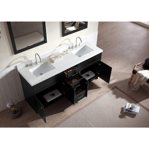 "ARIEL Hamlet 73"" Double Sink Vanity Set White Quartz Counter F073D-WQ - BathVault"