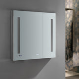 "Fresca Tiempo 30"" Wide x 30"" Tall Bathroom Medicine Cabinet w/ LED Lighting & Defogger - BathVault"