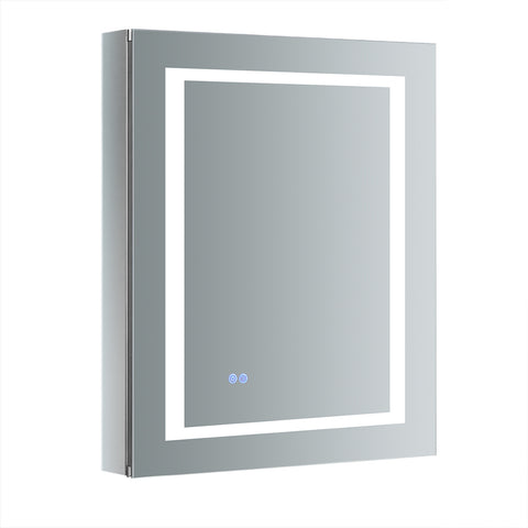 "Fresca Spazio 24"" Wide x 30"" Tall Bathroom Medicine Cabinet w/ LED Lighting & Defogger - BathVault"