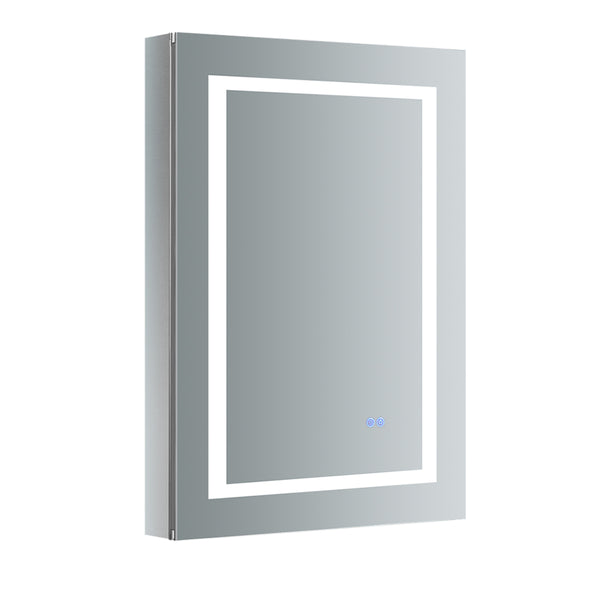 "Fresca Spazio 24"" Wide x 36"" Tall Bathroom Medicine Cabinet w/ LED Lighting & Defogger - BathVault"