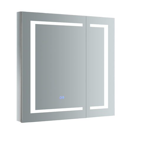 "Fresca Spazio 30"" Wide x 30"" Tall Bathroom Medicine Cabinet w/ LED Lighting & Defogger - BathVault"