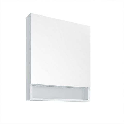 "Fresca 24"" White Bathroom Medicine Cabinet w/ Small Bottom Shelf - BathVault"