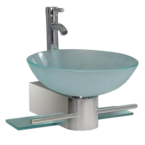 "Fresca Cristallino 18"" Modern Glass Bathroom Vanity w/ Frosted Vessel Sink - BathVault"