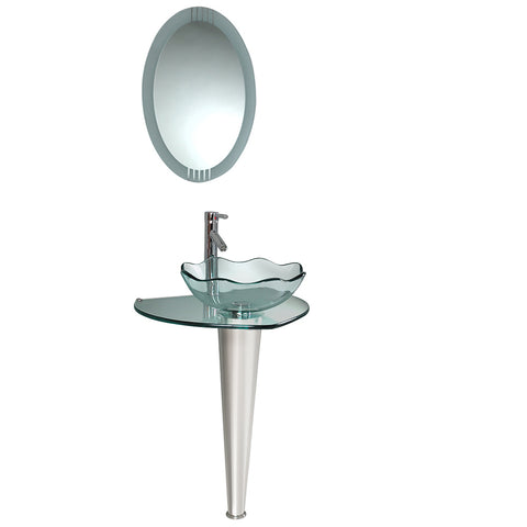 "Fresca Netto 24"" Modern Glass Bathroom Vanity w/ Wavy Edge Vessel Sink - BathVault"