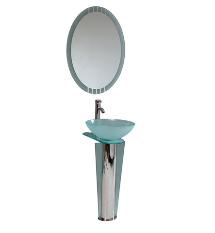 "Fresca Vitale 17"" Modern Glass Bathroom Vanity w/ Mirror - BathVault"