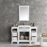 "Fresca Cambridge 48"" White Traditional Bathroom Vanity w/ Mirror - BathVault"