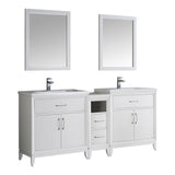 "Fresca Cambridge 72"" White Double Sink Traditional Bathroom Vanity w/ Mirrors - BathVault"