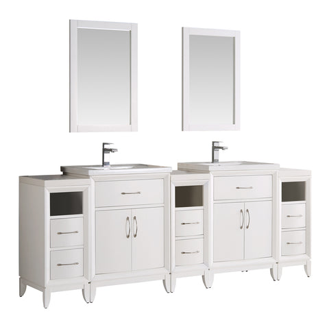 "Fresca Cambridge 84"" White Double Sink Traditional Bathroom Vanity w/ Mirrors - BathVault"