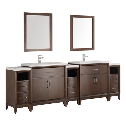 "Fresca Cambridge 96"" Antique Coffee Double Sink Traditional Bathroom Vanity w/ Mirrors - BathVault"