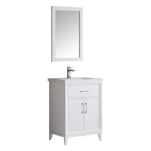 "Fresca Cambridge 24"" White Traditional Bathroom Vanity w/ Mirror - BathVault"