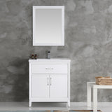 "Fresca Cambridge 30"" White Traditional Bathroom Vanity w/ Mirror - BathVault"