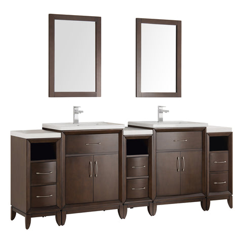 "Fresca Cambridge 84"" Antique Coffee Double Sink Traditional Bathroom Vanity w/ Mirrors - BathVault"