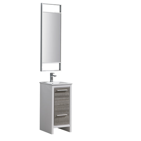 "Fresca Allier Rio 16"" Ash Gray Modern Bathroom Vanity w/ Mirror - BathVault"