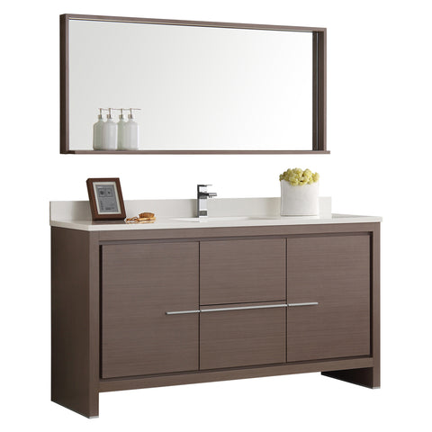 "Fresca Allier 60"" Gray Oak Modern Single Sink Bathroom Vanity w/ Mirror - BathVault"