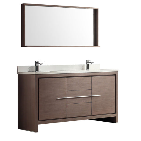 "Fresca Allier 60"" Gray Oak Modern Double Sink Bathroom Vanity w/ Mirror - BathVault"