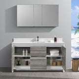 "Fresca Allier Rio 60"" Ash Gray Single Sink Modern Bathroom Vanity w/ Medicine Cabinet - BathVault"