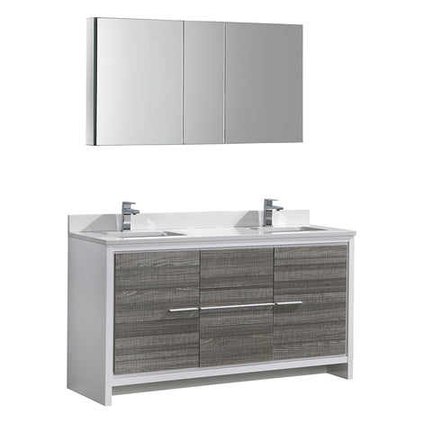 "Fresca Allier Rio 60"" Ash Gray Double Sink Modern Bathroom Vanity w/ Medicine Cabinet - BathVault"
