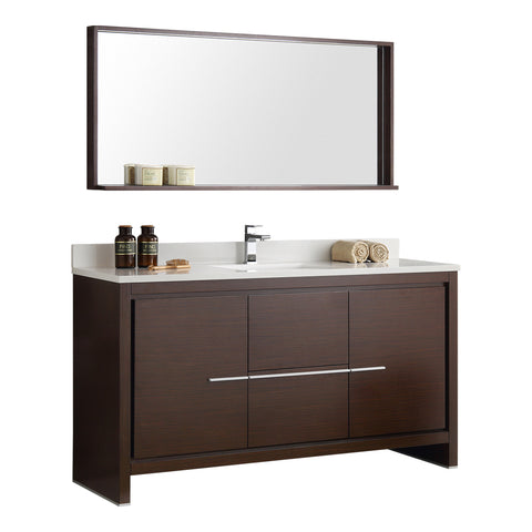 "Fresca Allier 60"" Wenge Brown Modern Single Sink Bathroom Vanity w/ Mirror - BathVault"