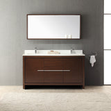 "Fresca Allier 60"" Wenge Brown Modern Double Sink Bathroom Vanity w/ Mirror - BathVault"