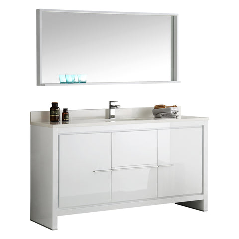 "Fresca Allier 60"" White Modern Single Sink Bathroom Vanity w/ Mirror - BathVault"