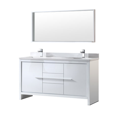 "Fresca Allier 60"" White Modern Double Sink Bathroom Vanity w/ Mirror - BathVault"