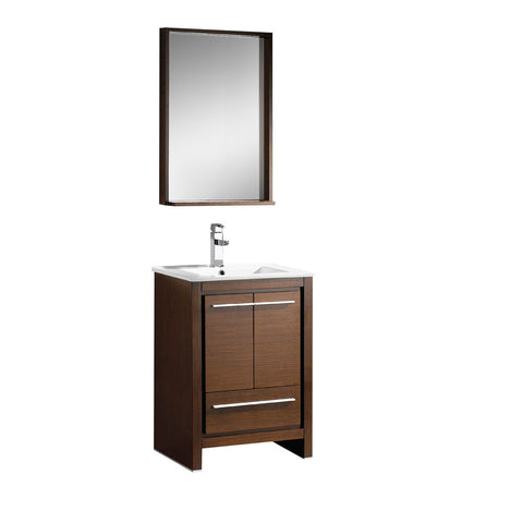 "Fresca Allier 24"" Wenge Brown Modern Bathroom Vanity w/ Mirror - BathVault"