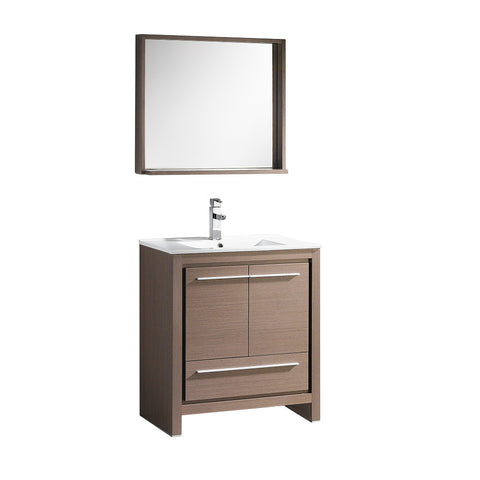 "Fresca Allier 30"" Gray Oak Modern Bathroom Vanity w/ Mirror - BathVault"