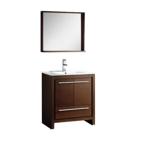 "Fresca Allier 30"" Wenge Brown Modern Bathroom Vanity w/ Mirror - BathVault"