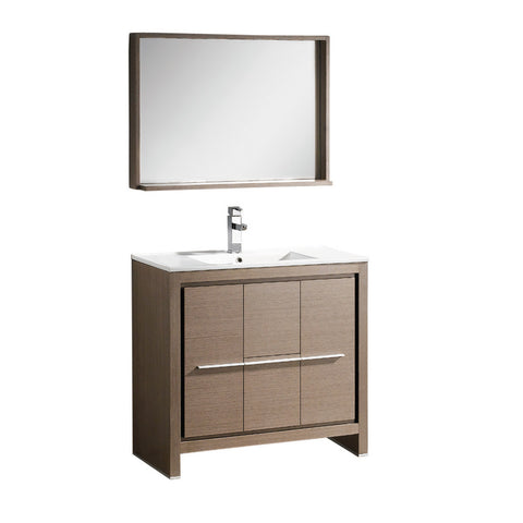 "Fresca Allier 36"" Gray Oak Modern Bathroom Vanity w/ Mirror - BathVault"