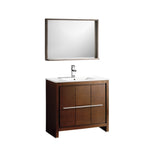 "Fresca Allier 36"" Wenge Brown Modern Bathroom Vanity w/ Mirror - BathVault"