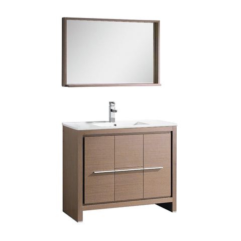 "Fresca Allier 40"" Gray Oak Modern Bathroom Vanity w/ Mirror - BathVault"