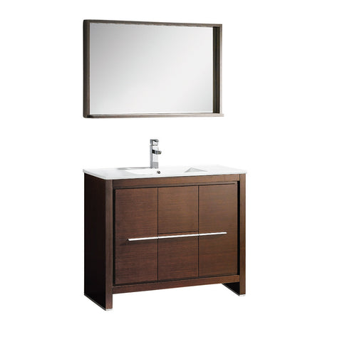 "Fresca Allier 40"" Wenge Brown Modern Bathroom Vanity w/ Mirror - BathVault"