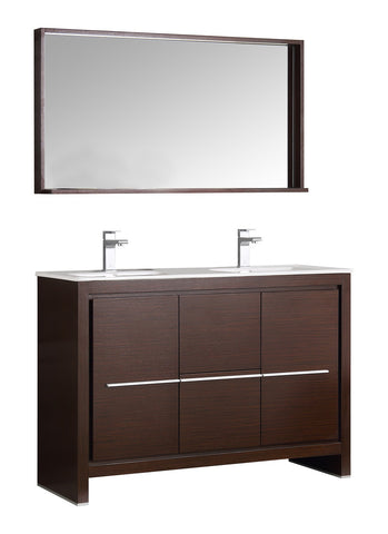 "Fresca Allier 48"" Wenge Brown Modern Double Sink Bathroom Vanity w/ Mirror - BathVault"
