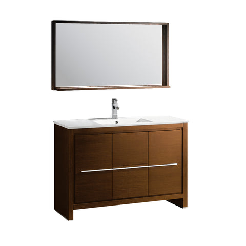 "Fresca Allier 48"" Wenge Brown Modern Bathroom Vanity w/ Mirror - BathVault"
