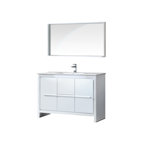 "Fresca Allier 48"" White Modern Bathroom Vanity w/ Mirror - BathVault"