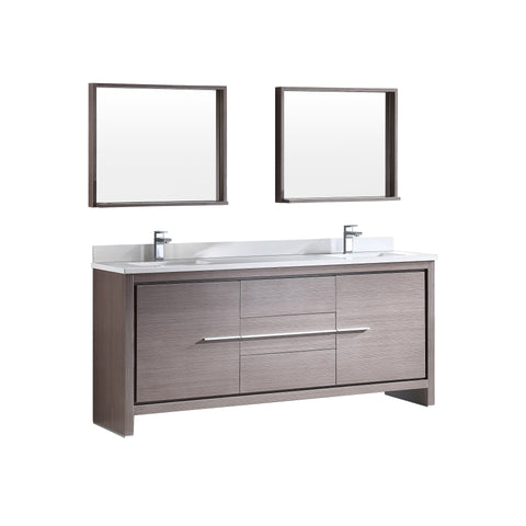 "Fresca Allier 72"" Gray Oak Modern Double Sink Bathroom Vanity w/ Mirror - BathVault"