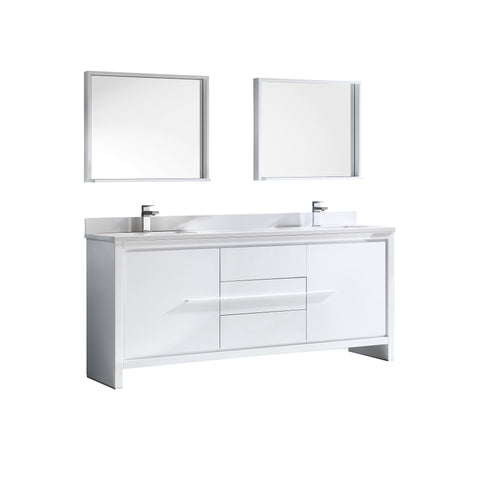 "Fresca Allier 72"" White Modern Double Sink Bathroom Vanity w/ Mirror - BathVault"
