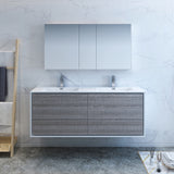 "Fresca Catania 60"" Glossy Ash Gray Wall Hung Double Sink Modern Bathroom Vanity w/ Medicine Cabinet - BathVault"