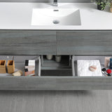 "Fresca Catania 60"" Ocean Gray Wall Hung Single Sink Modern Bathroom Vanity w/ Medicine Cabinet - BathVault"