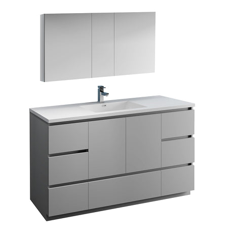 "Fresca Lazzaro 60"" Gray Free Standing Single Sink Modern Bathroom Vanity w/ Medicine Cabinet - BathVault"