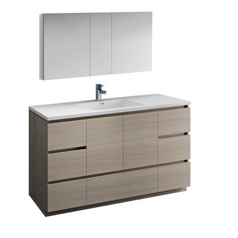 "Fresca Lazzaro 60"" Gray Wood Free Standing Single Sink Modern Bathroom Vanity w/ Medicine Cabinet - BathVault"