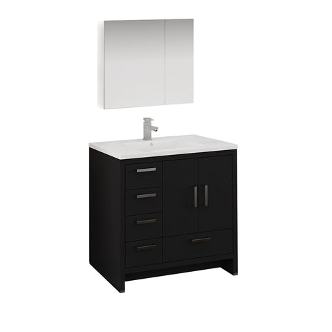 "Fresca Imperia 36"" Dark Gray Oak Free Standing Modern Bathroom Vanity w/ Medicine Cabinet- Left Version - BathVault"
